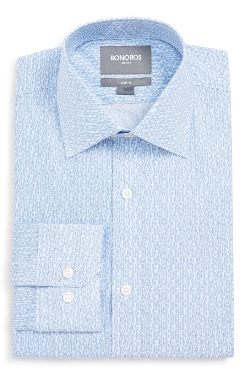BONOBOS Slim Fit Stretch Geometric Dress Shirt, Main, color, WATER DROP
