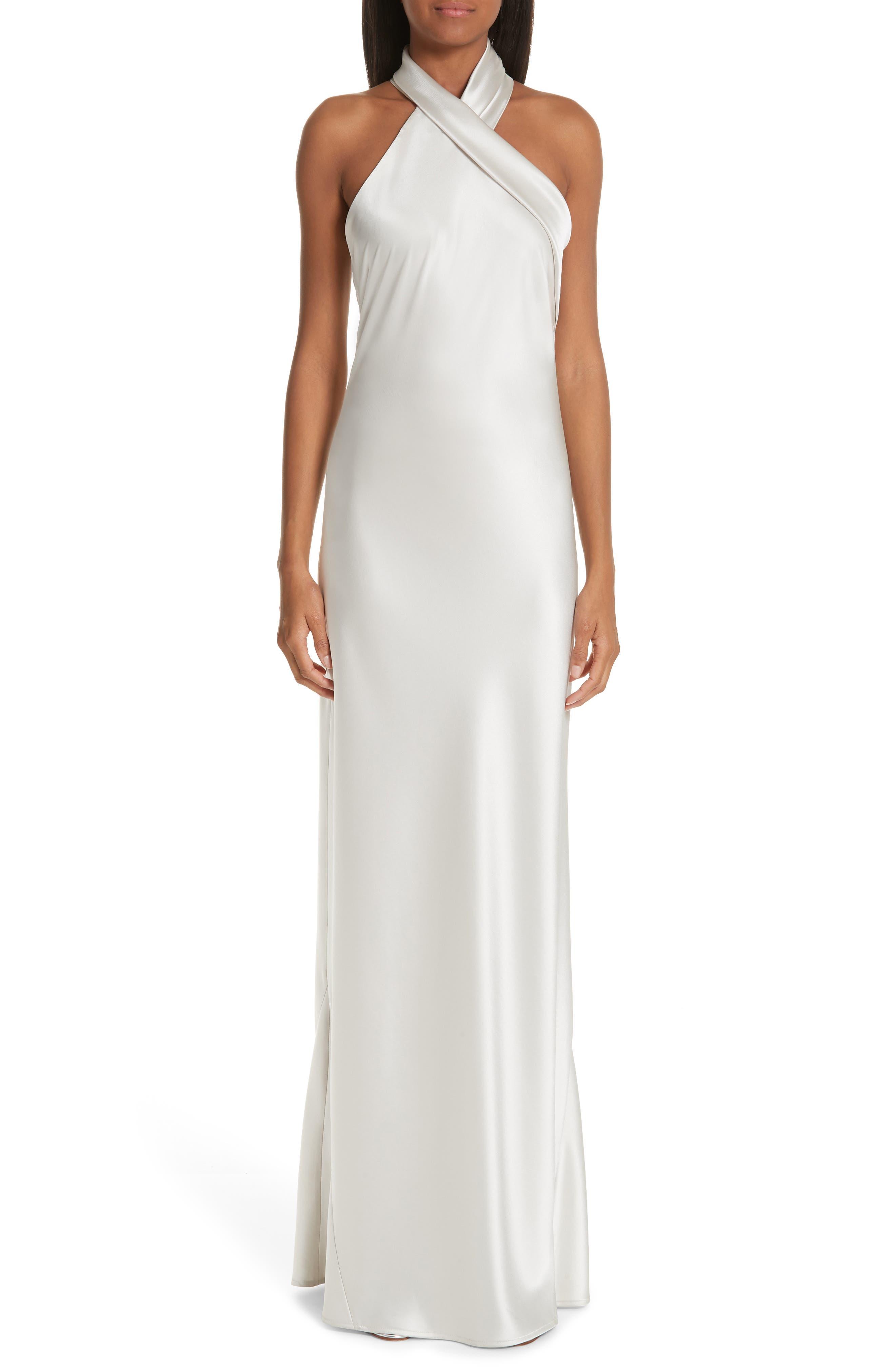 Galvan Twist Halter Neck Satin Dress, 6 FR - Metallic