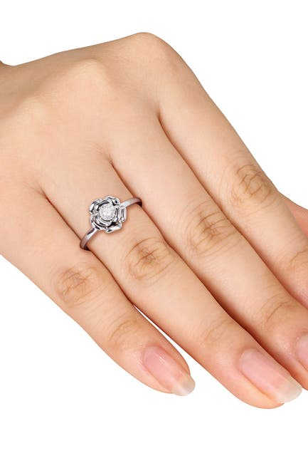 Image of Delmar Sterling Silver Diamond Flower Ring - 0.05 ctw