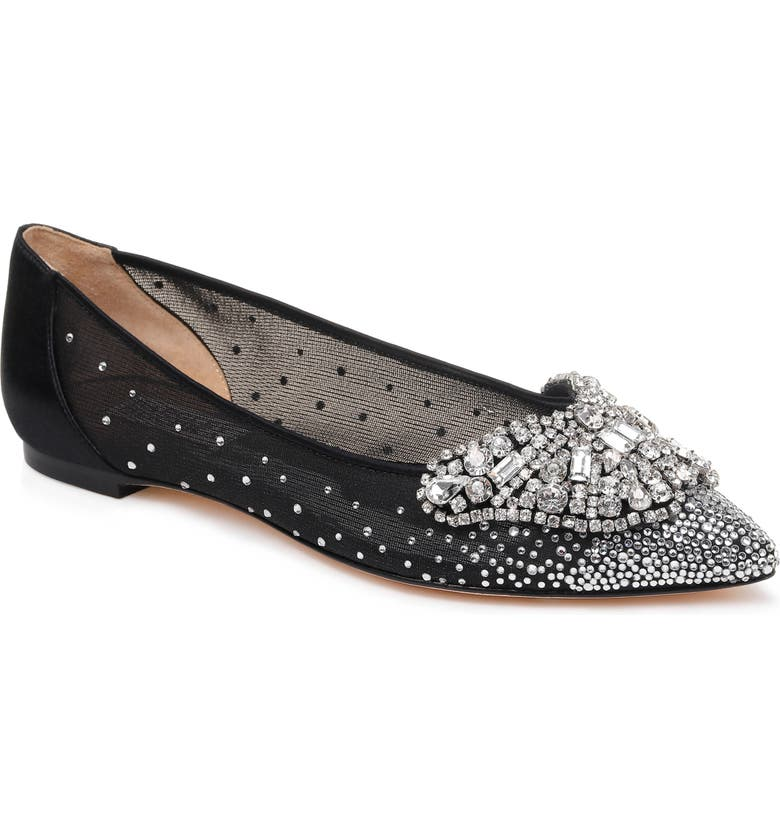 BADGLEY MISCHKA COLLECTION Badgley Mischka Quinn Flat, Main, color, BLACK SATIN/ MESH