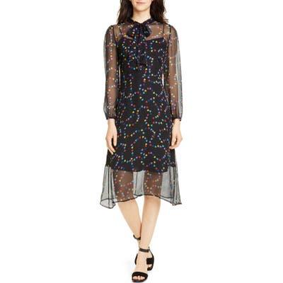 Hvn Elisa Tie Neck Long Sleeve Silk Chiffon Dress, Black