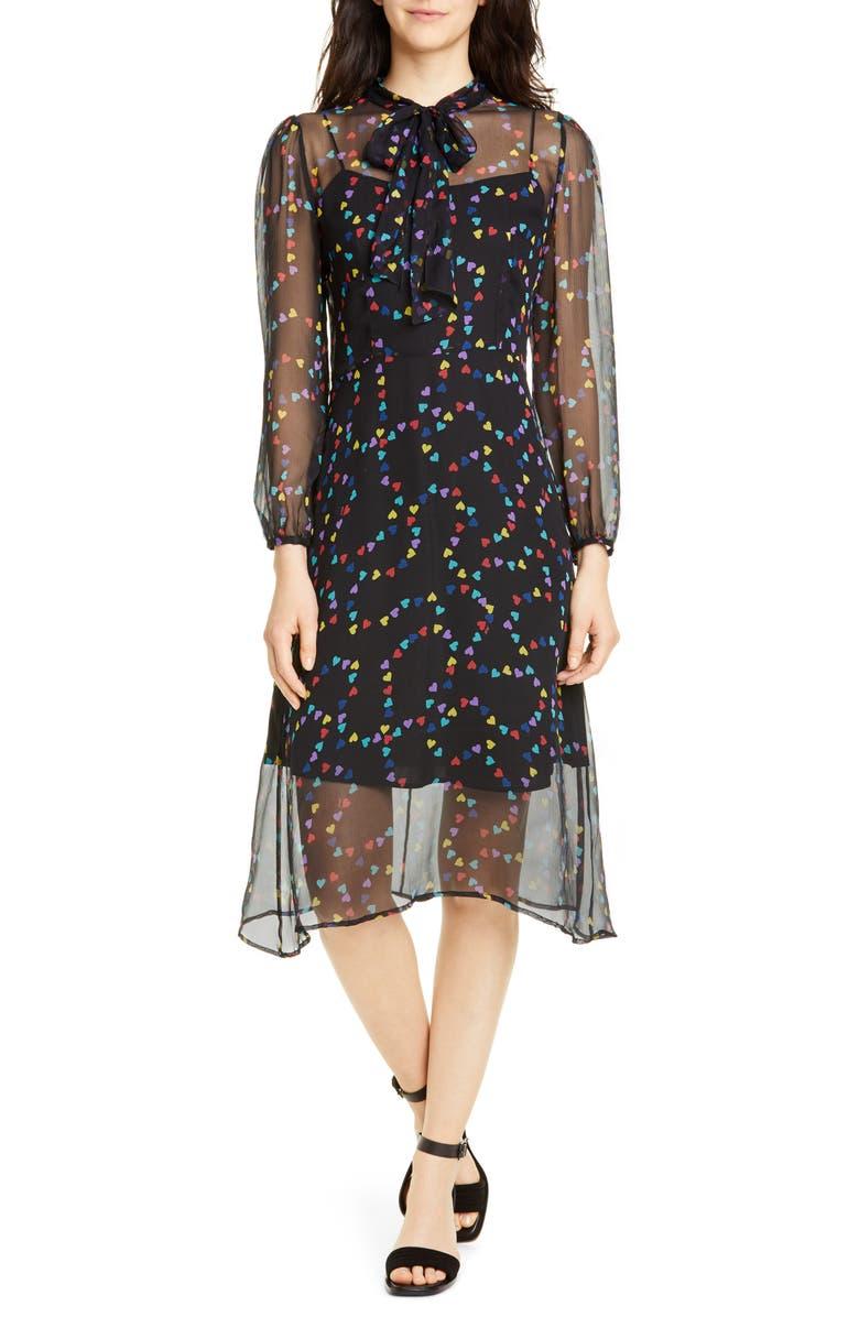 HVN Elisa Tie Neck Long Sleeve Silk Chiffon Dress, Main, color, RAINBOW STRING OF HEARTS