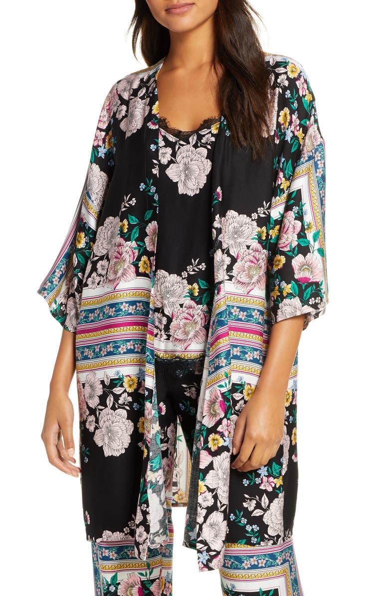 PJ SALVAGE Floral Ruana, Main, color, BLACK