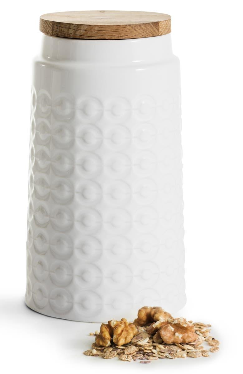 SAGAFORM Large Oak Storage Jar, Main, color, WHITE
