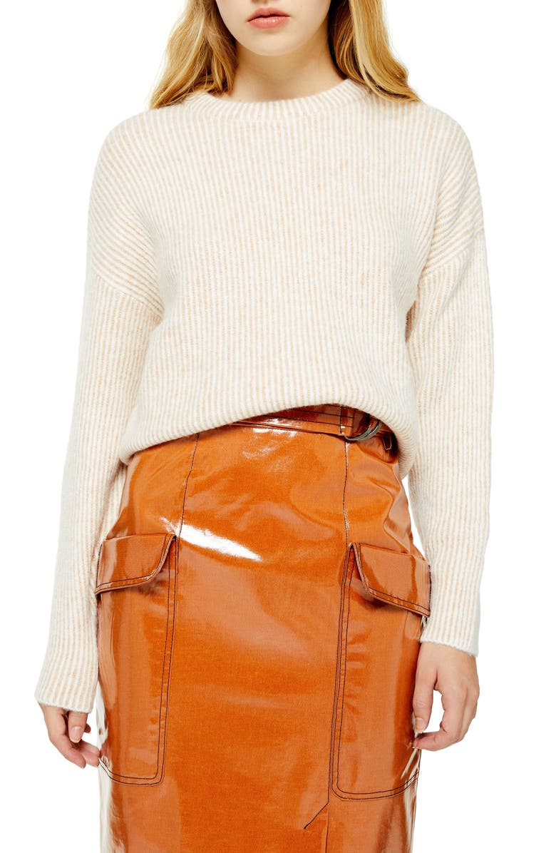 TOPSHOP Rib Knit Crop Sweater, Main, color, OATMEAL