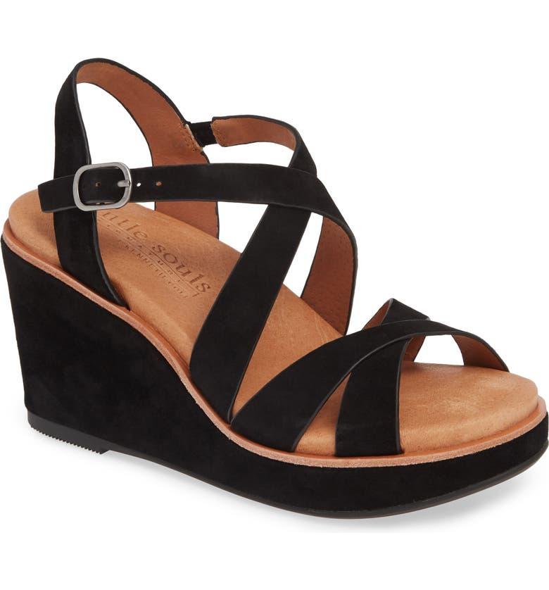 GENTLE SOULS SIGNATURE Judi Platform Wedge Sandal, Main, color, BLACK SUEDE