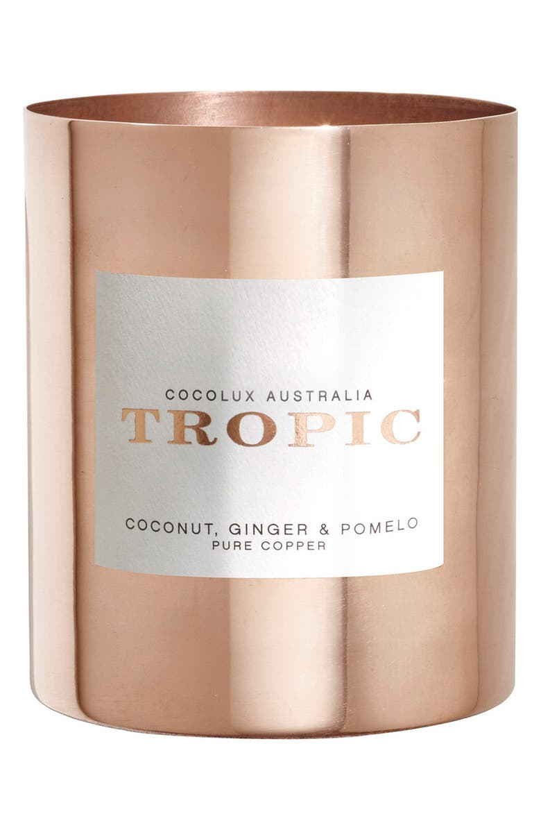 COCOLUX AUSTRALIA Coconut, Ginger & Pomelo Copper Candle, Main, color, 000