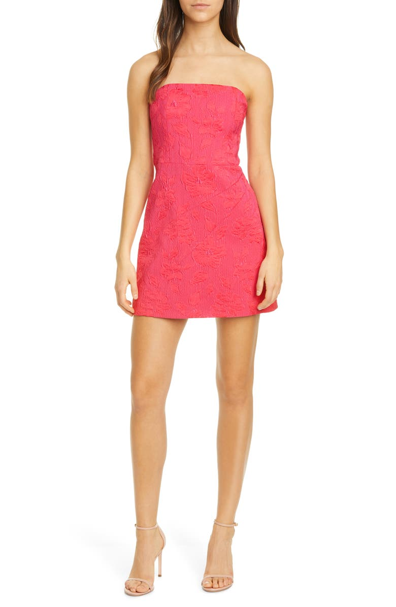 ALICE + OLIVIA Perla Floral Jacquard Strapless Minidress, Main, color, WILD PINK
