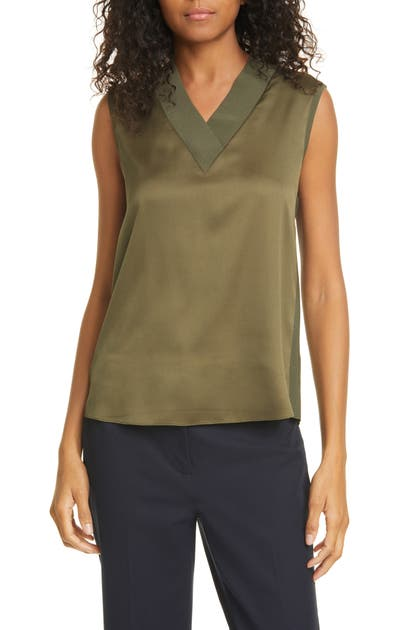 Ted Baker Lydiaay V-neck Mixed Media Top In Olive