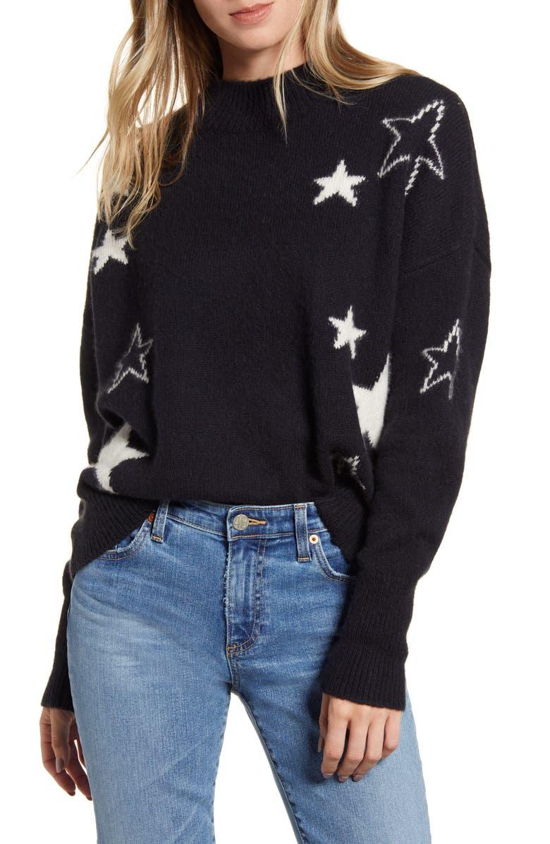 RAILS Kana Star Detail Merino Wool & Cashmere Sweater, Main, color, MIDNIGHT IVORY STARS