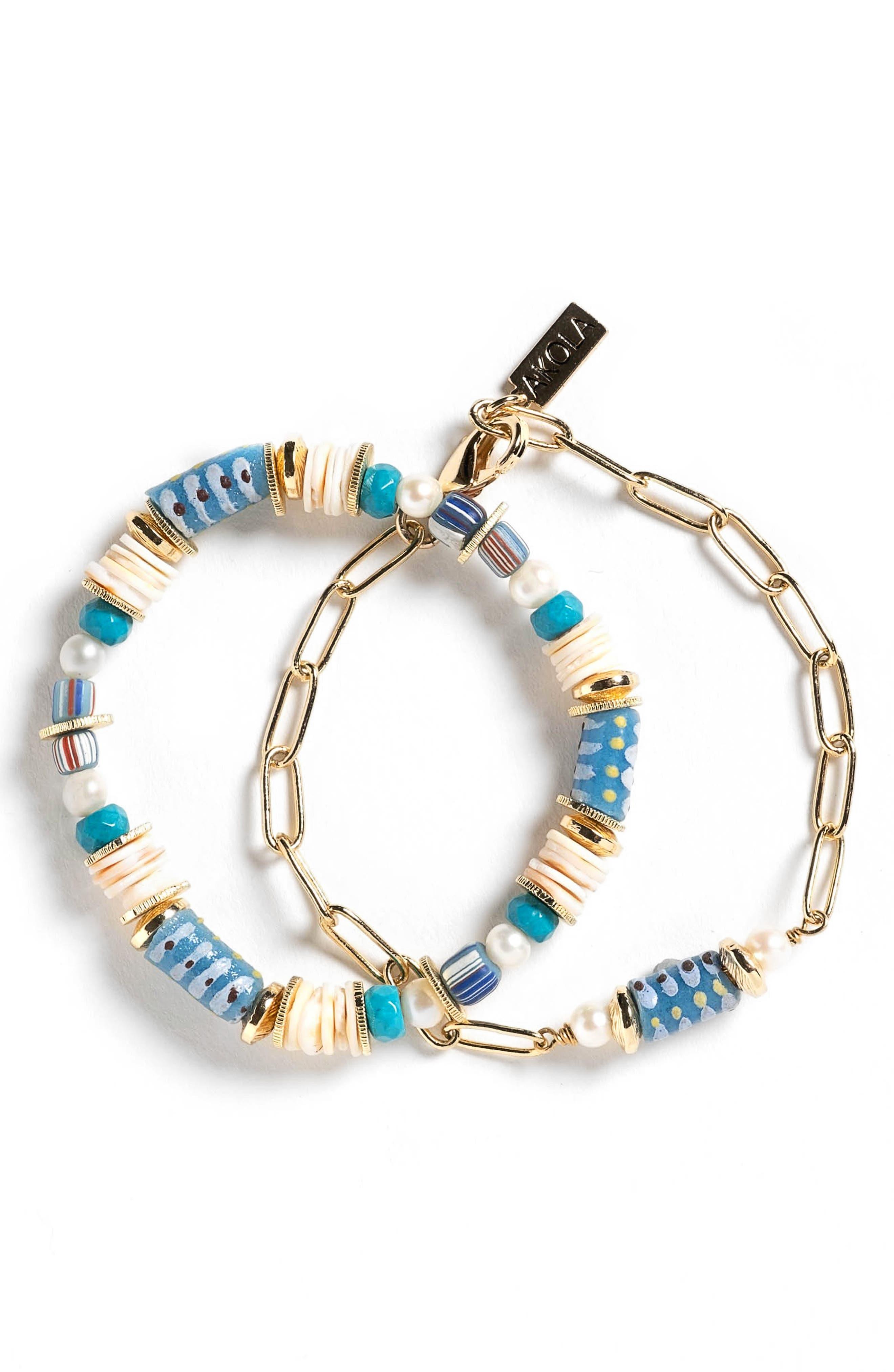 Lori Set Of 2 Chain Link & Beaded Bracelets