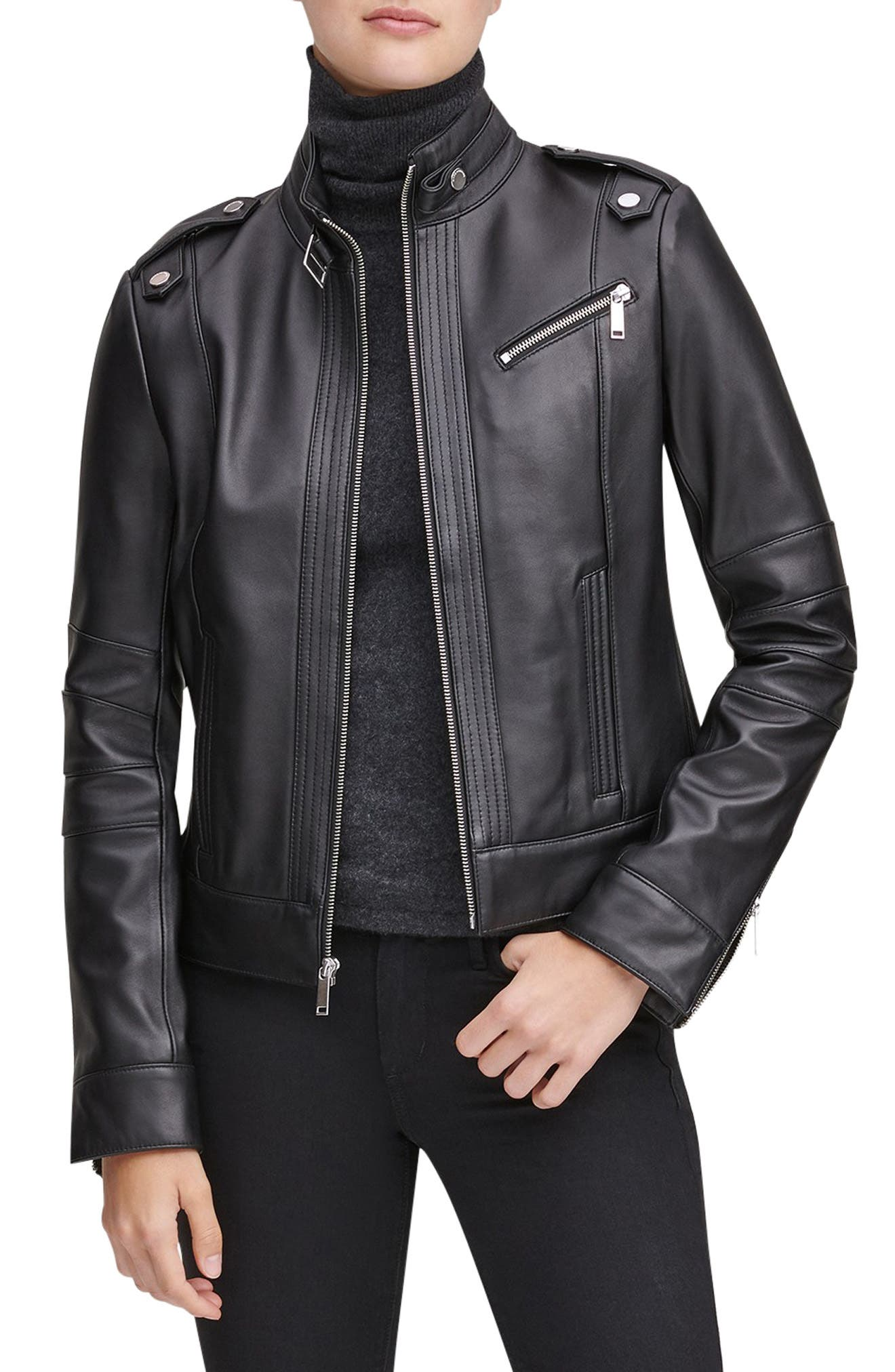 Stand Collar Leather Moto Jacket