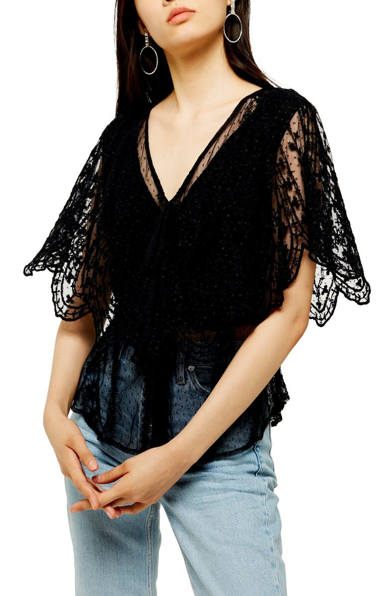 TOPSHOP Embroidered Mesh Tie Neck Top, Main, color, BLACK