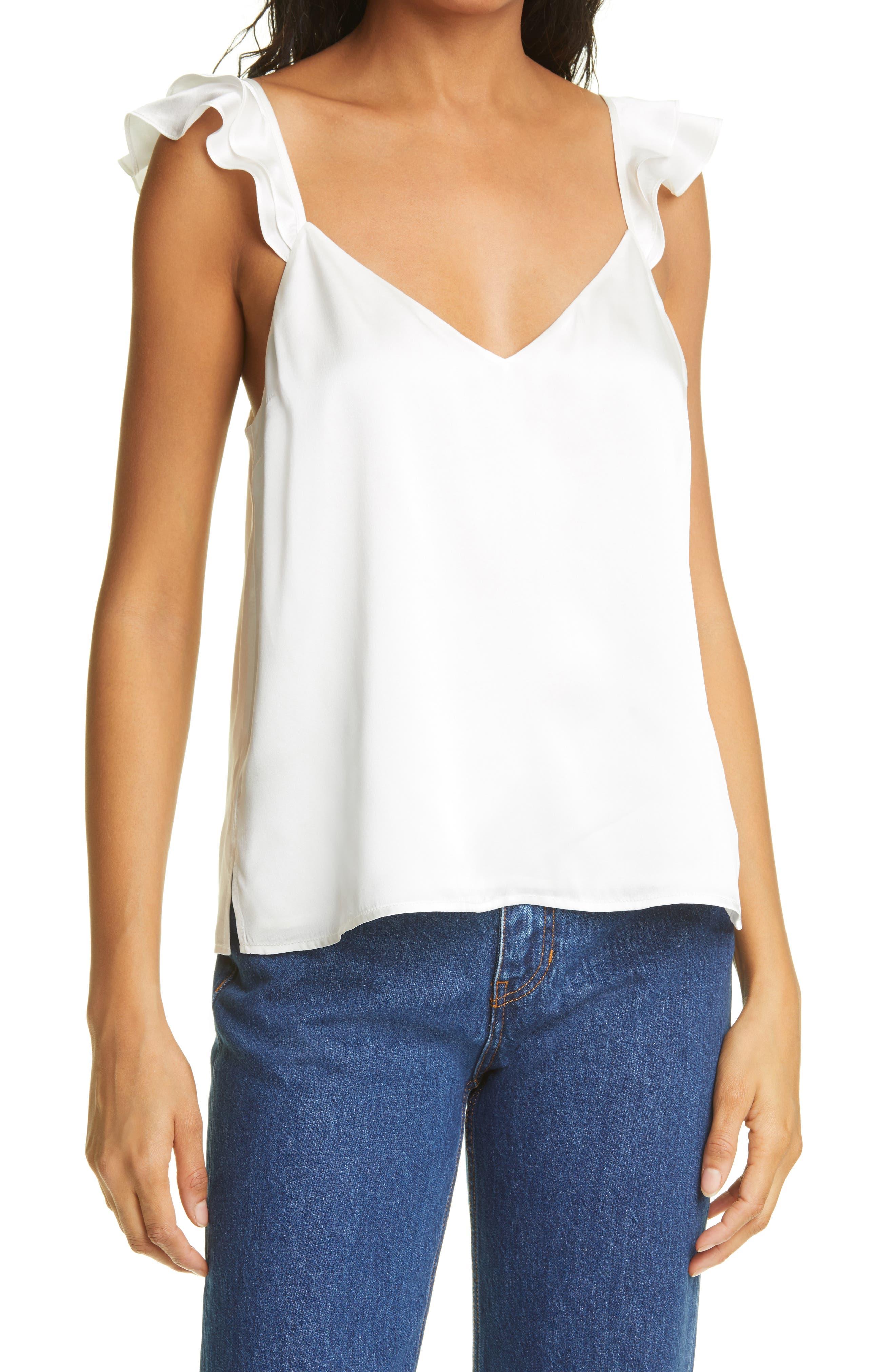 The Cara Ruffle Shoulder Silk Camisole