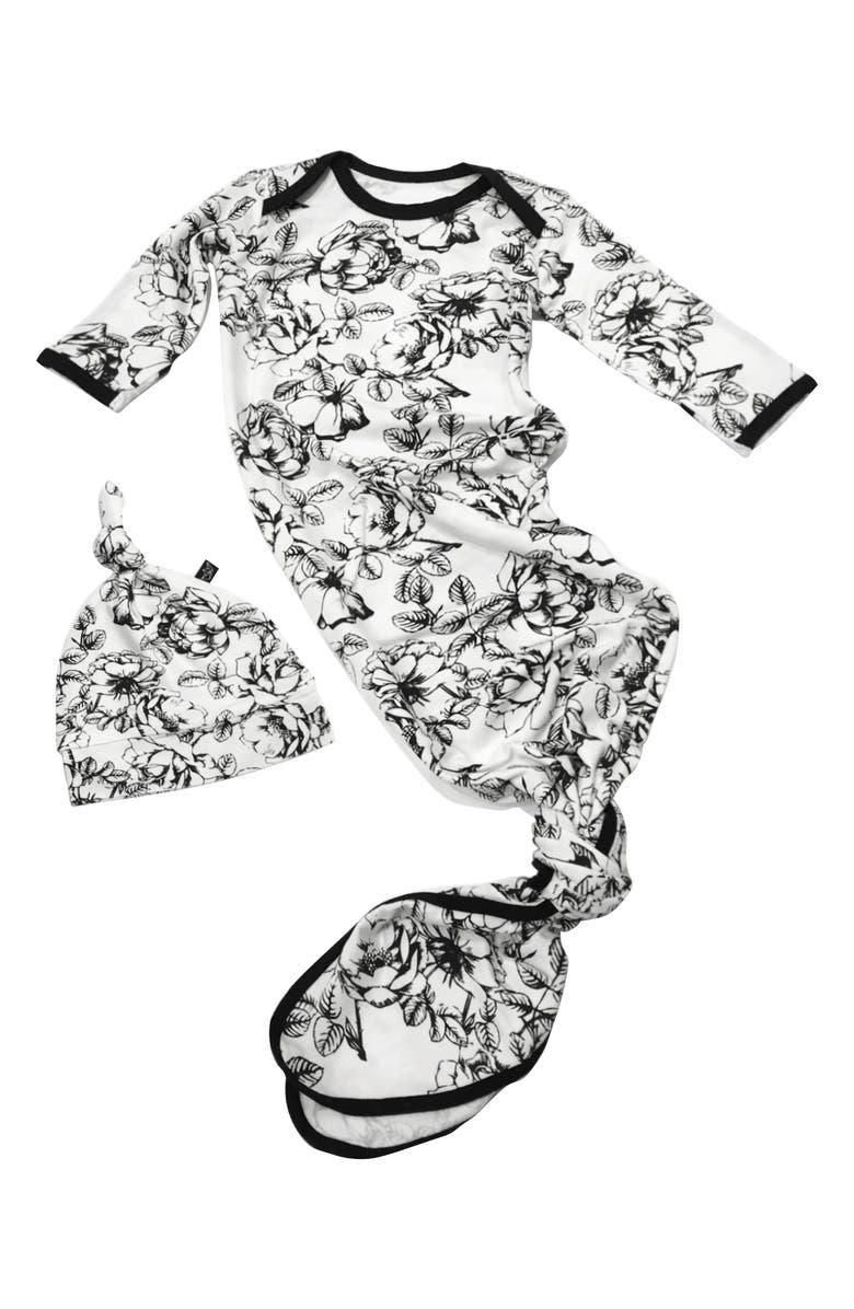 PEREGRINE KIDSWEAR Floral Gown & Hat Set, Main, color, BLACK/WHITE