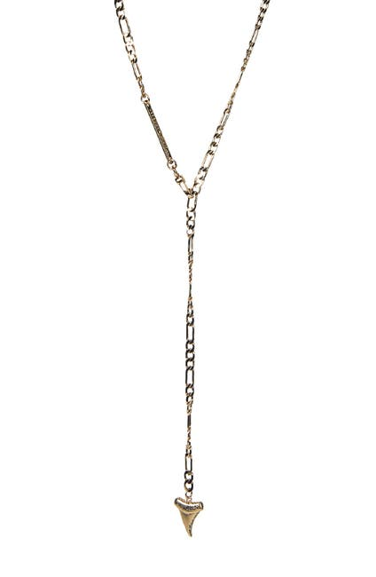 Image of Rebecca Minkoff Gold Plated Brass Shark Tooth Y-Drop Necklace