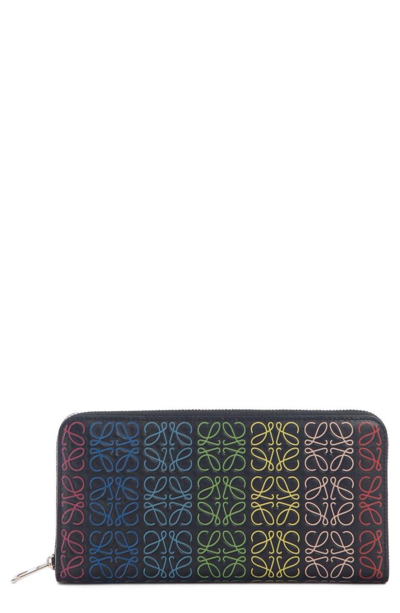 LOEWE Logo Embossed Zip Around Leather Wallet, Main, color, BLACK MULTI