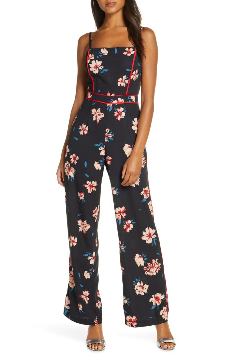 ADELYN RAE Carson Piped Floral Jumpsuit, Main, color, NAVY-CREAM MULTI