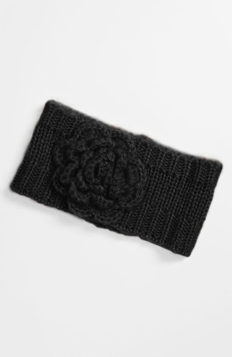 BP. Flower Knit Headband, Main, color, 001