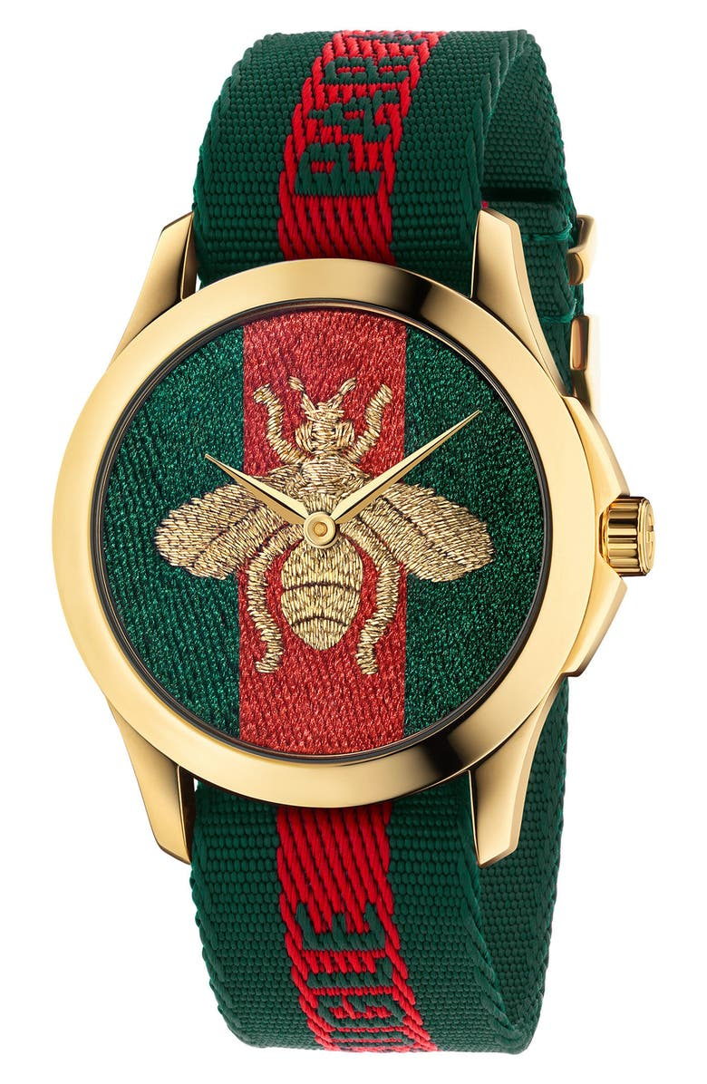 GUCCI Le Marché Des Merveilles Nylon Strap Watch, 45mm, Main, color, GREEN/ RED/ GOLD