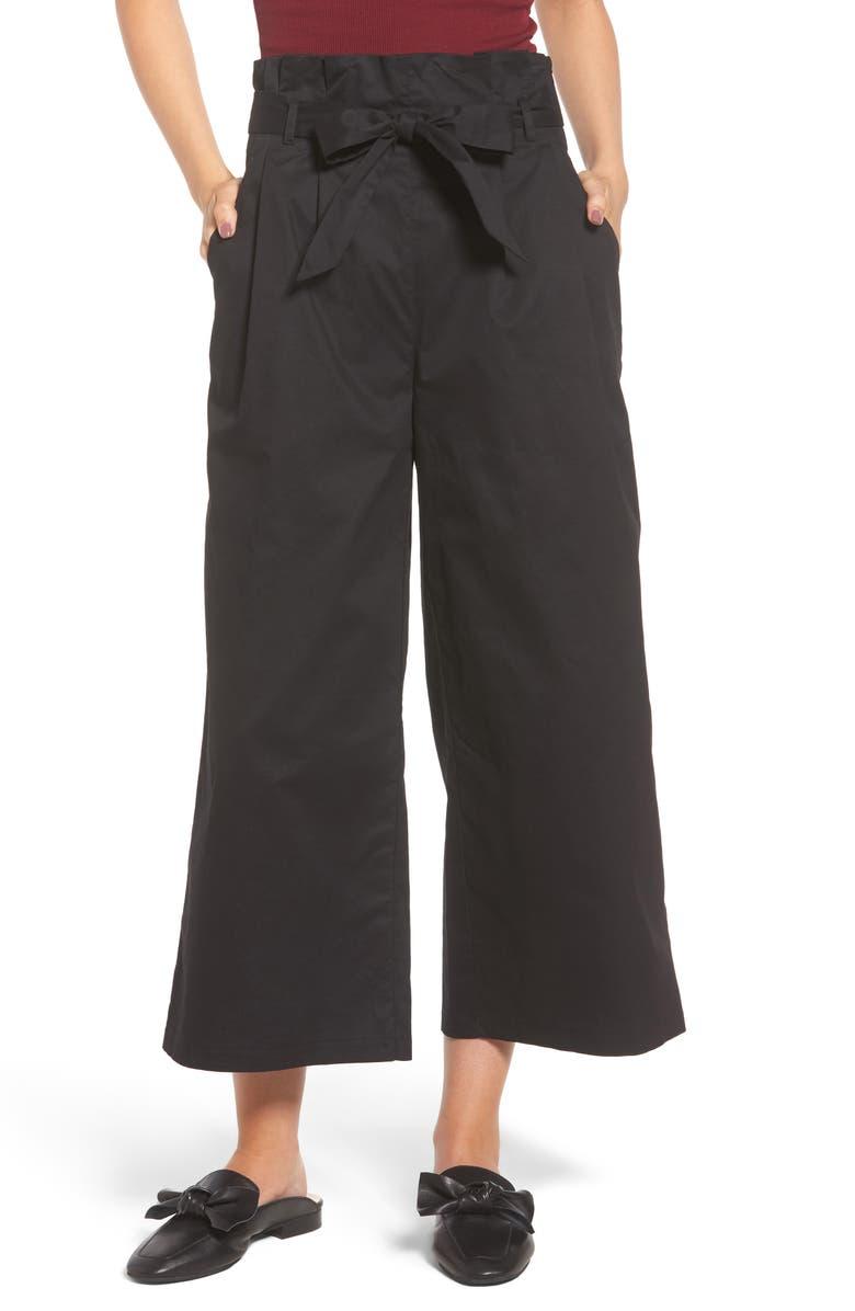SOPRANO Paperbag Waist Wide Leg Pants, Main, color, 001