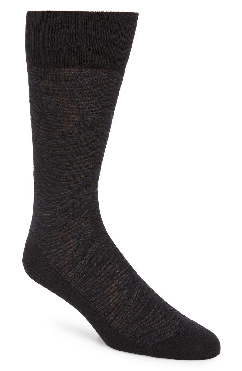 NORDSTROM SIGNATURE Wave Merino Wool Blend Dress Socks, Main, color, BLACK/ GREY