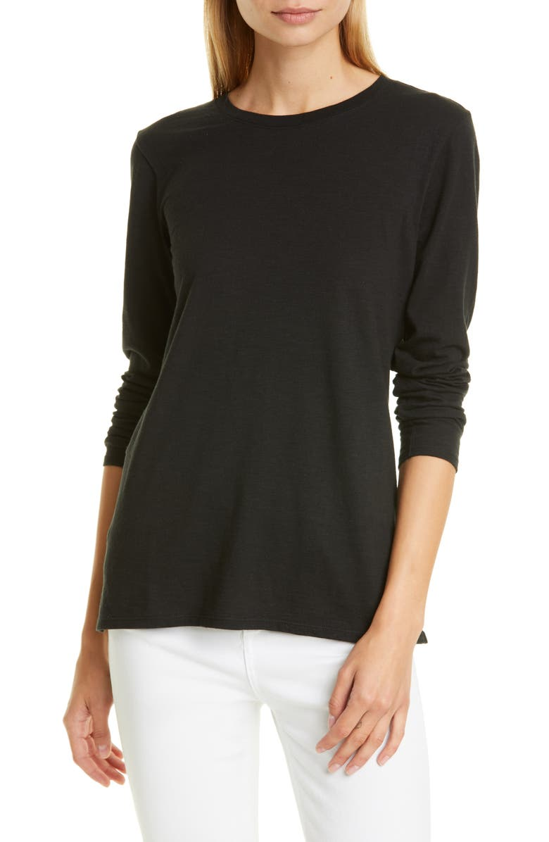 NORDSTROM SIGNATURE Long Sleeve Cotton Blend Crewneck Top, Main, color, 001