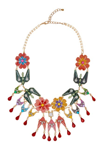 Image of Eye Candy Los Angeles Kaleidoscope Floral Motif Statement Collar Necklace