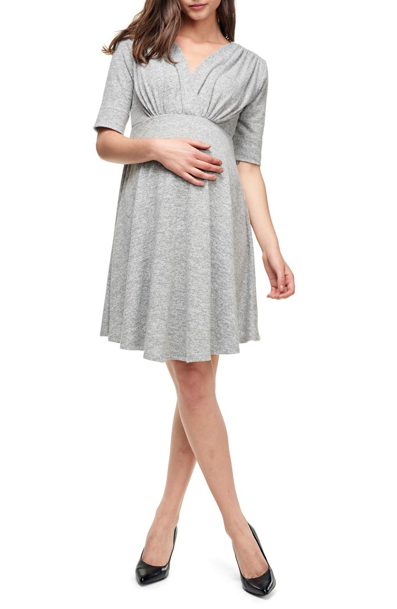 MATERNAL AMERICA Empire Waist Stretch Maternity Dress, Main, color, HEATHER GREY