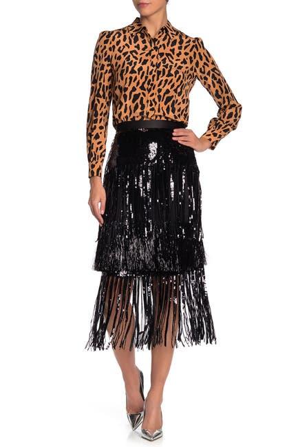 Image of Diane von Furstenberg Jacki Sequin and Fringe Skirt