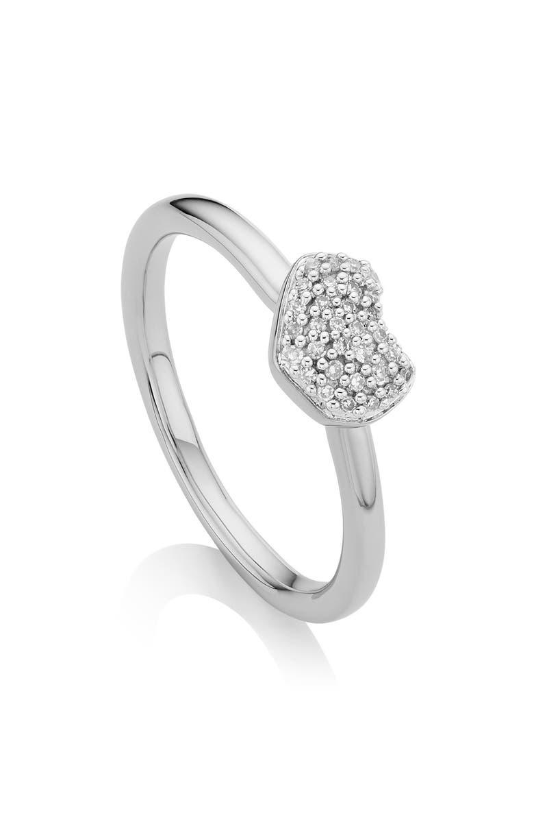 MONICA VINADER Nura Mini Diamond Heart Ring, Main, color, SILVER/ DIAMOND