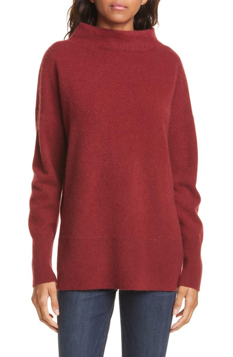 NORDSTROM SIGNATURE Funnel Neck Cashmere Sweater, Main, color, RED CINDER