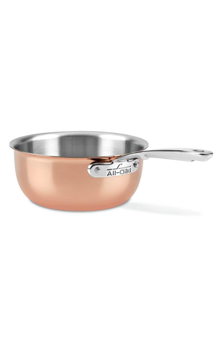 ALL-CLAD c4 Copper 2.5-Quart Saucier, Main, color, COPPER
