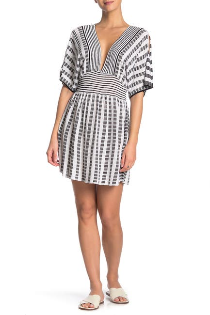 Image of Trina Turk Embroidered Stripe Slit Sleeve Cover-Up Tunic