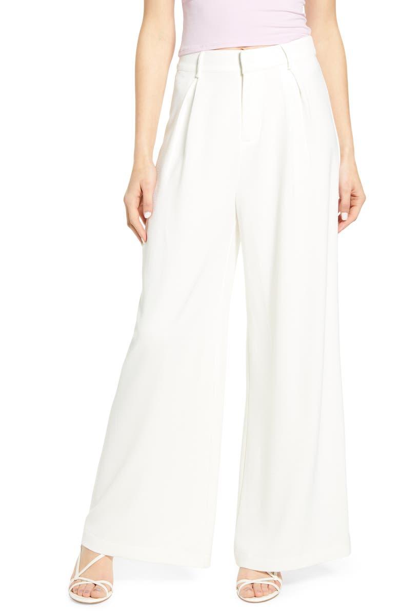 JUNE & HUDSON High Waist Wide Leg Pants, Main, color, WHITE