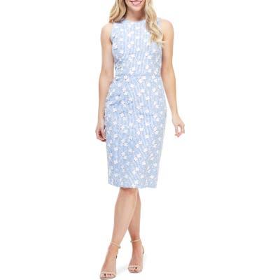 Petite Maggy London Cecelia Floral Applique Stripe Sheath Dress, Blue