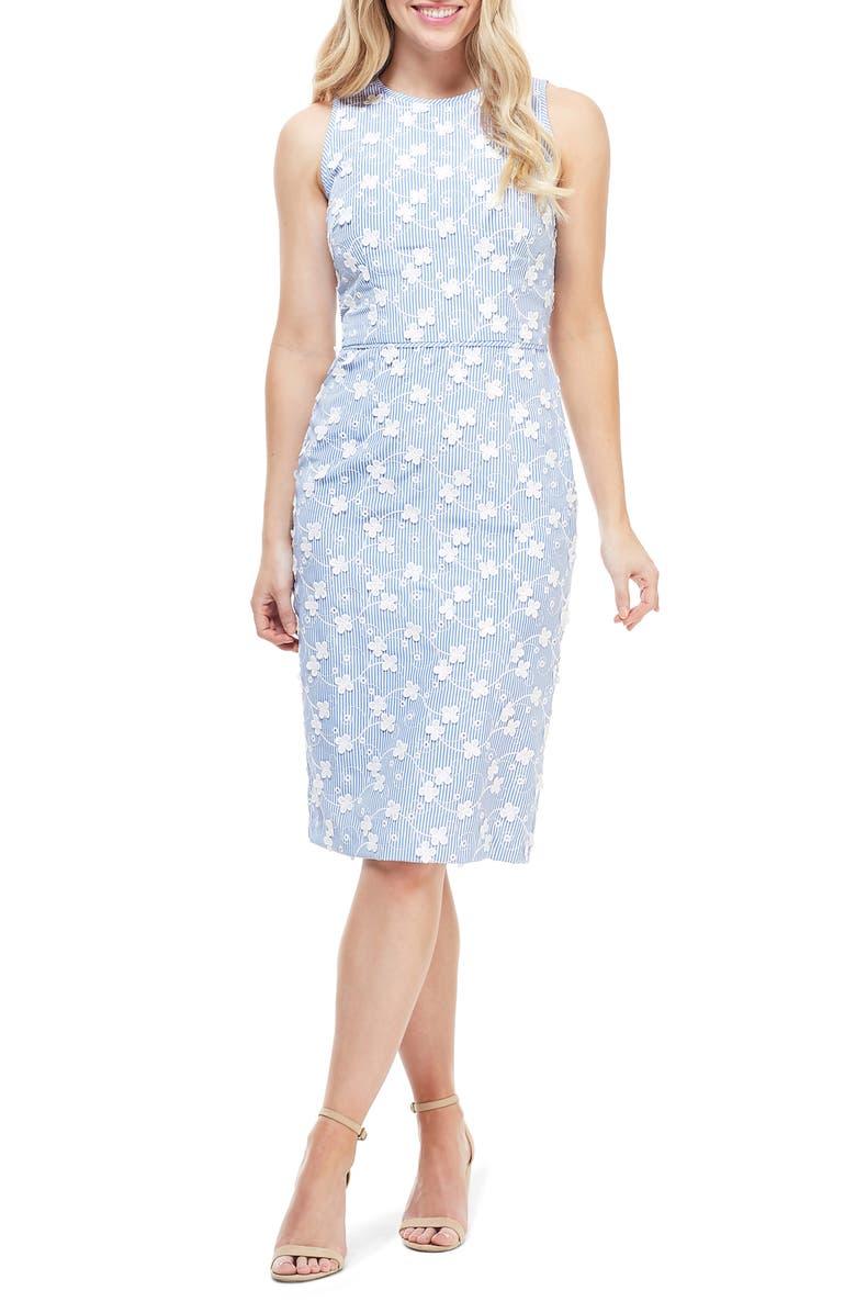 MAGGY LONDON Cecelia Floral Appliqué Stripe Sheath Dress, Main, color, BLUE/ WHITE