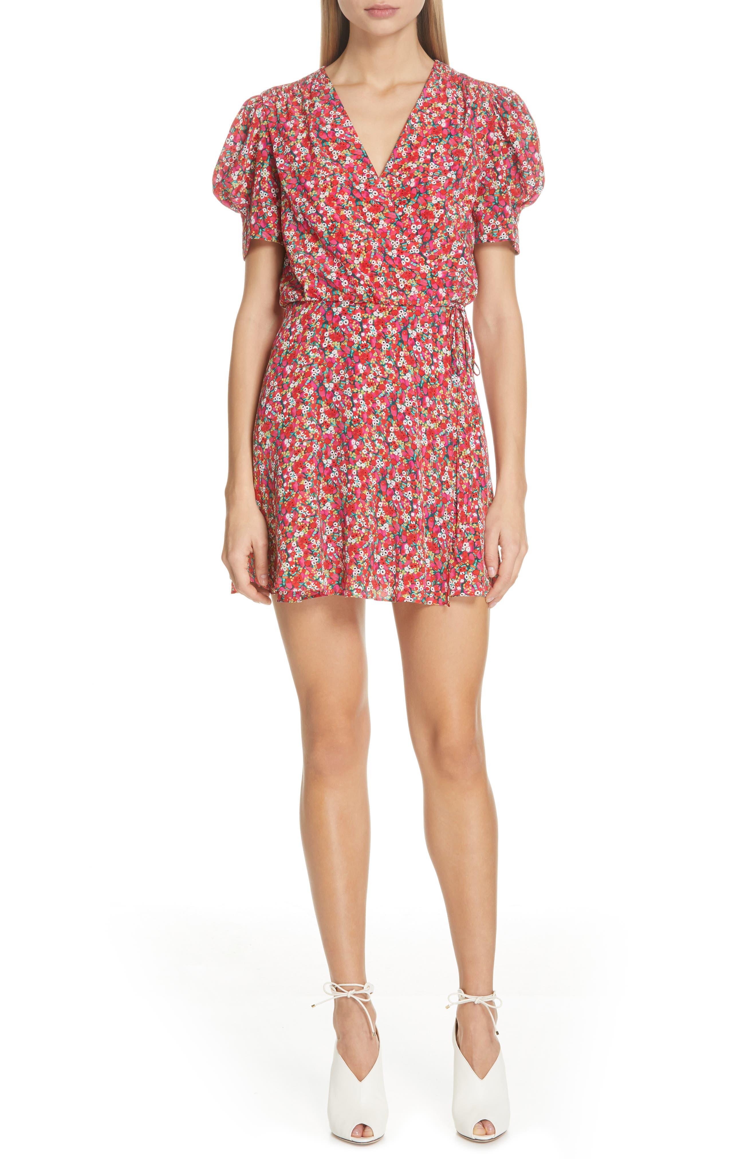 Saloni Lea Print Silk Wrap Minidress