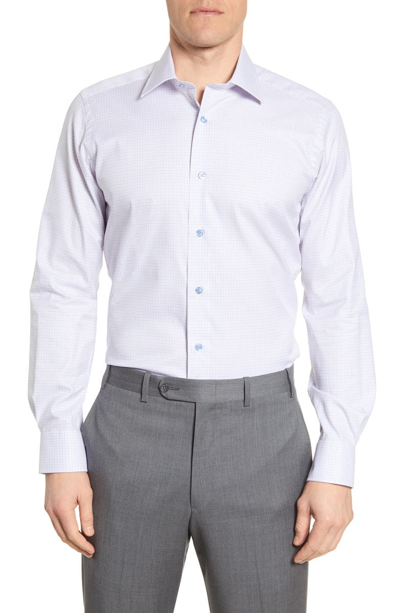 DAVID DONAHUE Trim Fit Plaid Dress Shirt, Main, color, WHITE/MELON