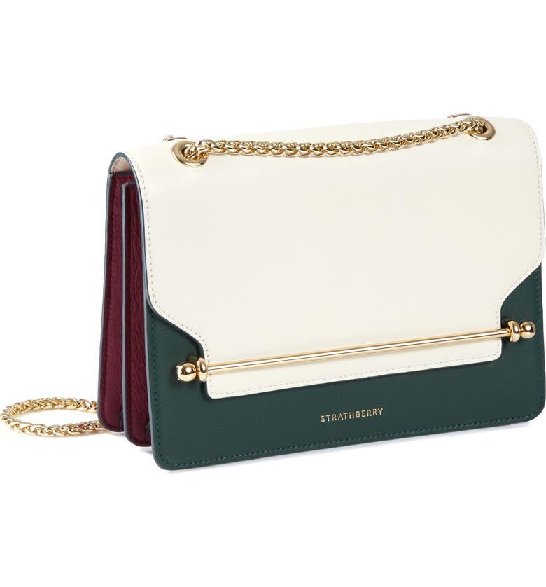 STRATHBERRY East/West Tricolor Leather Crossbody Bag, Main, color, 900