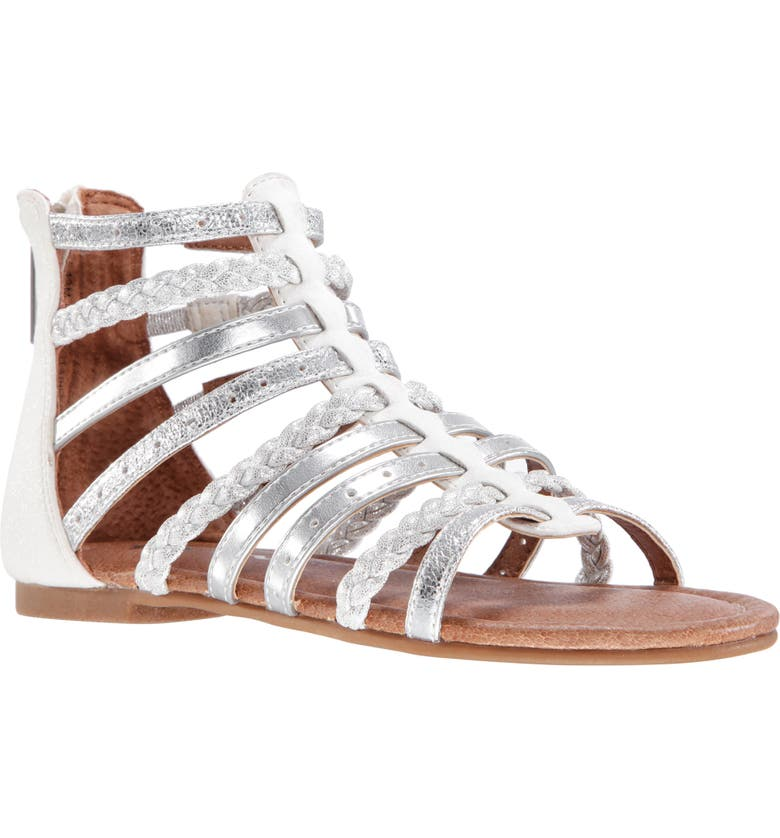 NINA Allice Metallic Sandal, Main, color, WHITE SMOOTH/ SILVER METALLIC
