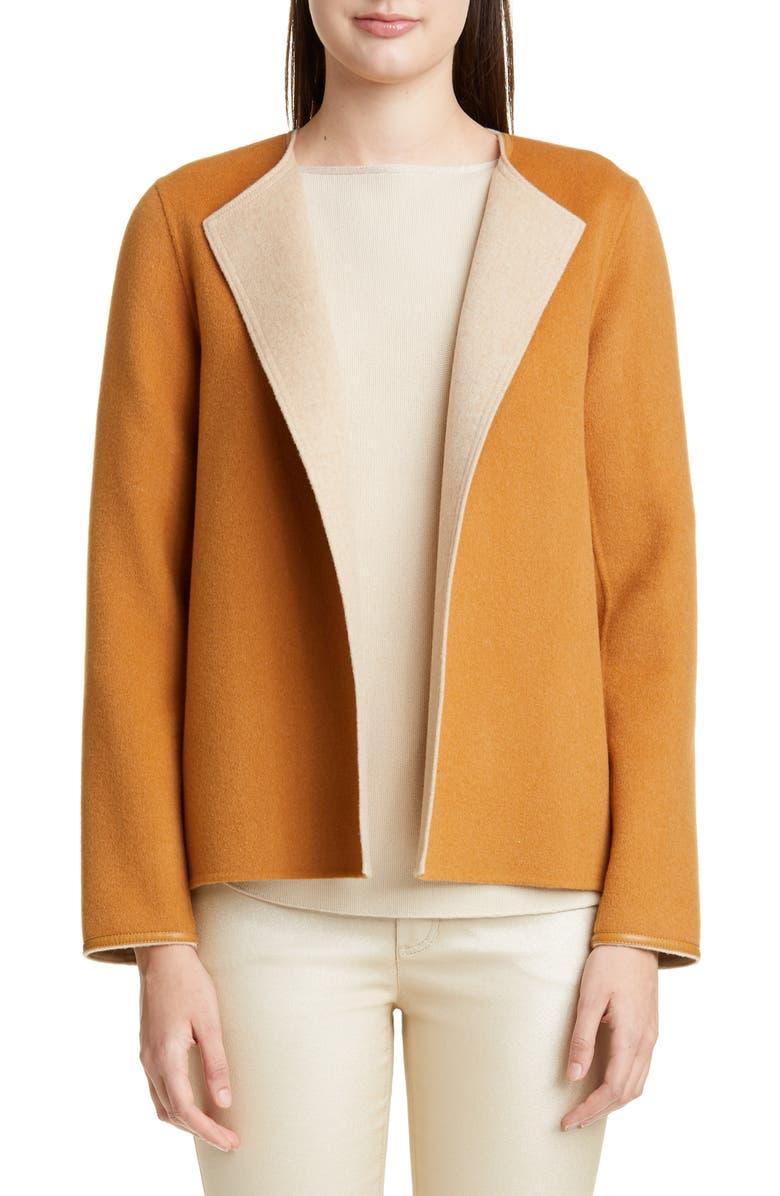 LAFAYETTE 148 NEW YORK Westlynn Reversible Wool & Cashmere Jacket, Main, color, BOURBON/ BISQUE