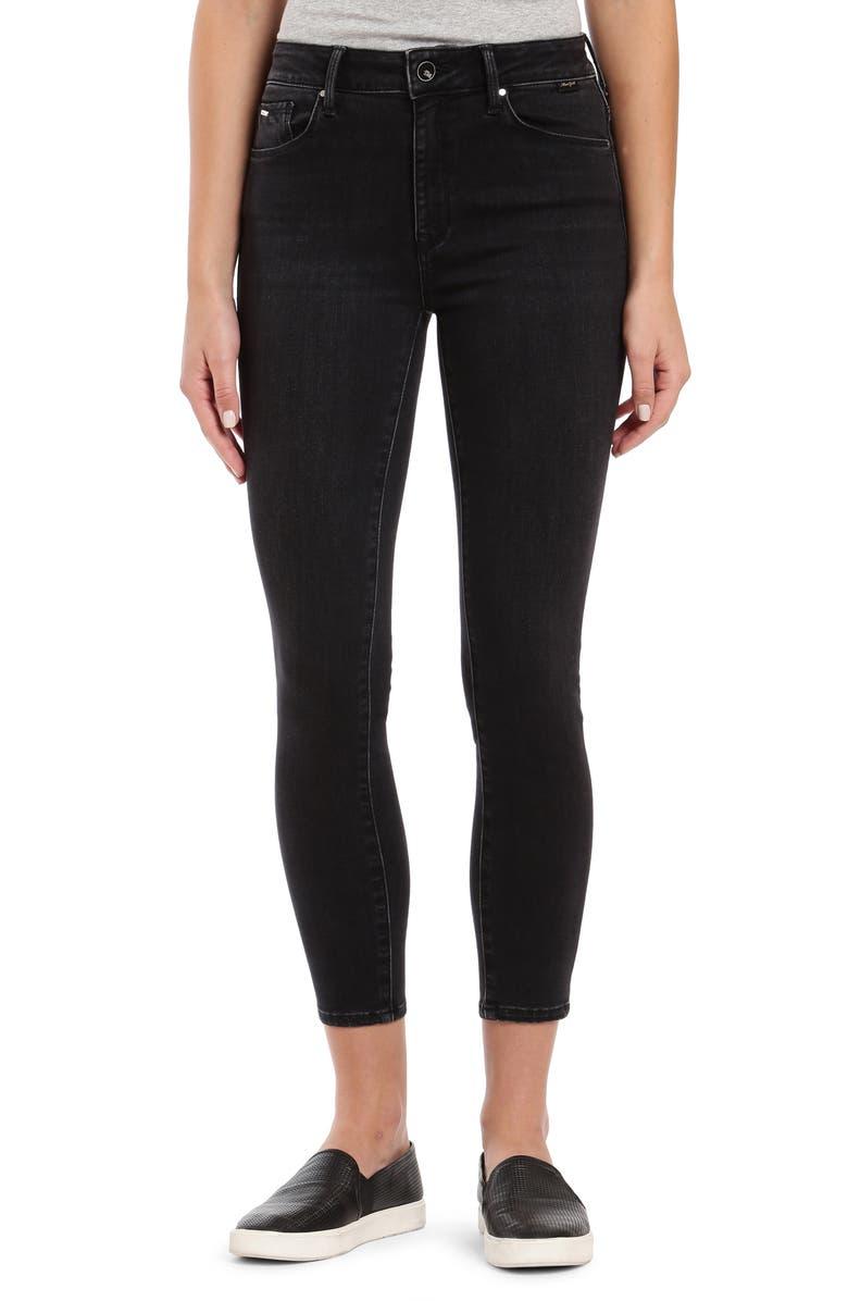 MAVI JEANS Tess High Waist Ankle Skinny Jeans, Main, color, DARK SMOKE GOLD LUX MOVE