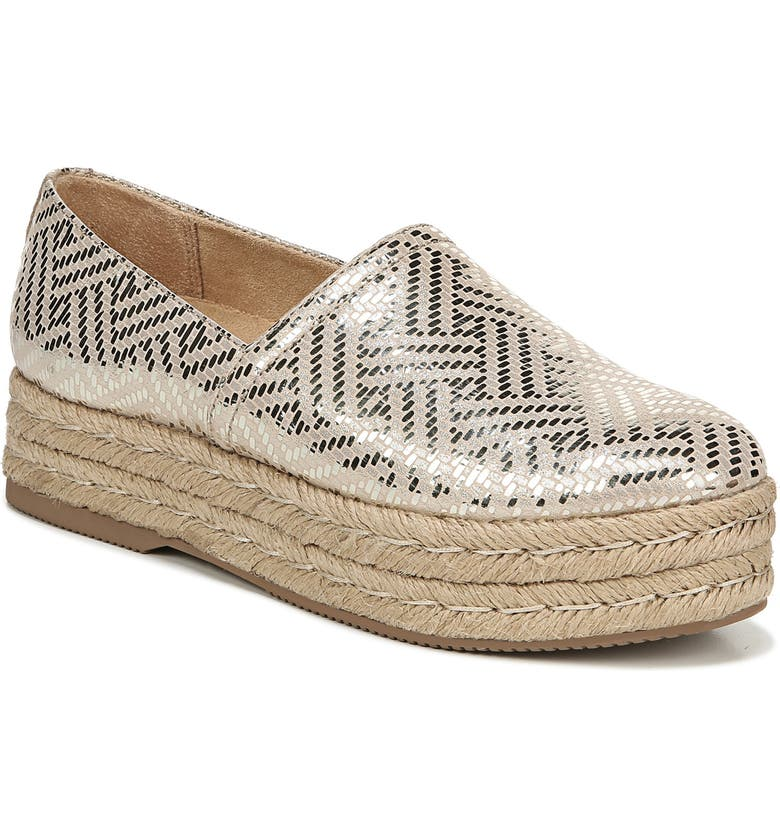 NATURALIZER Thea III Espadrille Slip-On, Main, color, LIGHT GOLD WOVEN LEATHER