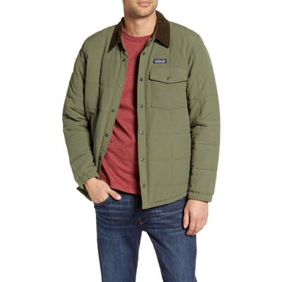 Patagonia Isthmus Wind Resistant Water Repellent Quilted Shirt Jacket, Green