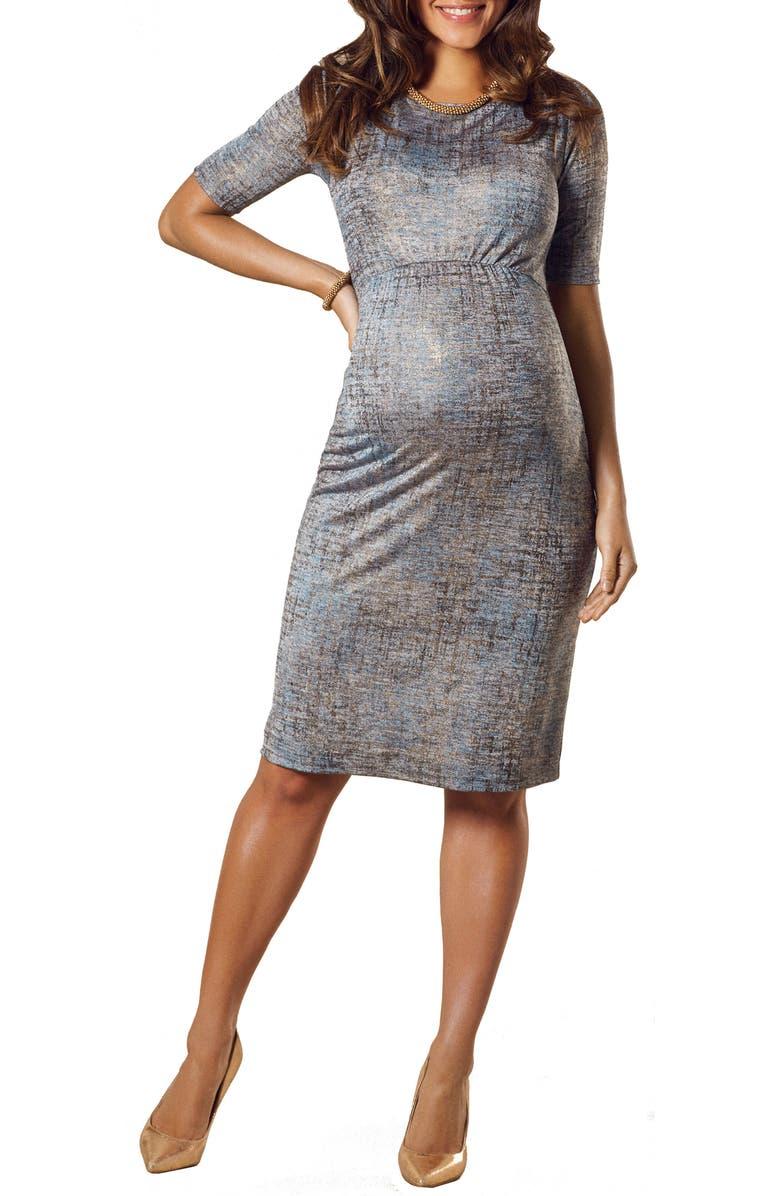 TIFFANY ROSE Anna Maternity Shift Dress, Main, color, BRONZE BLUE