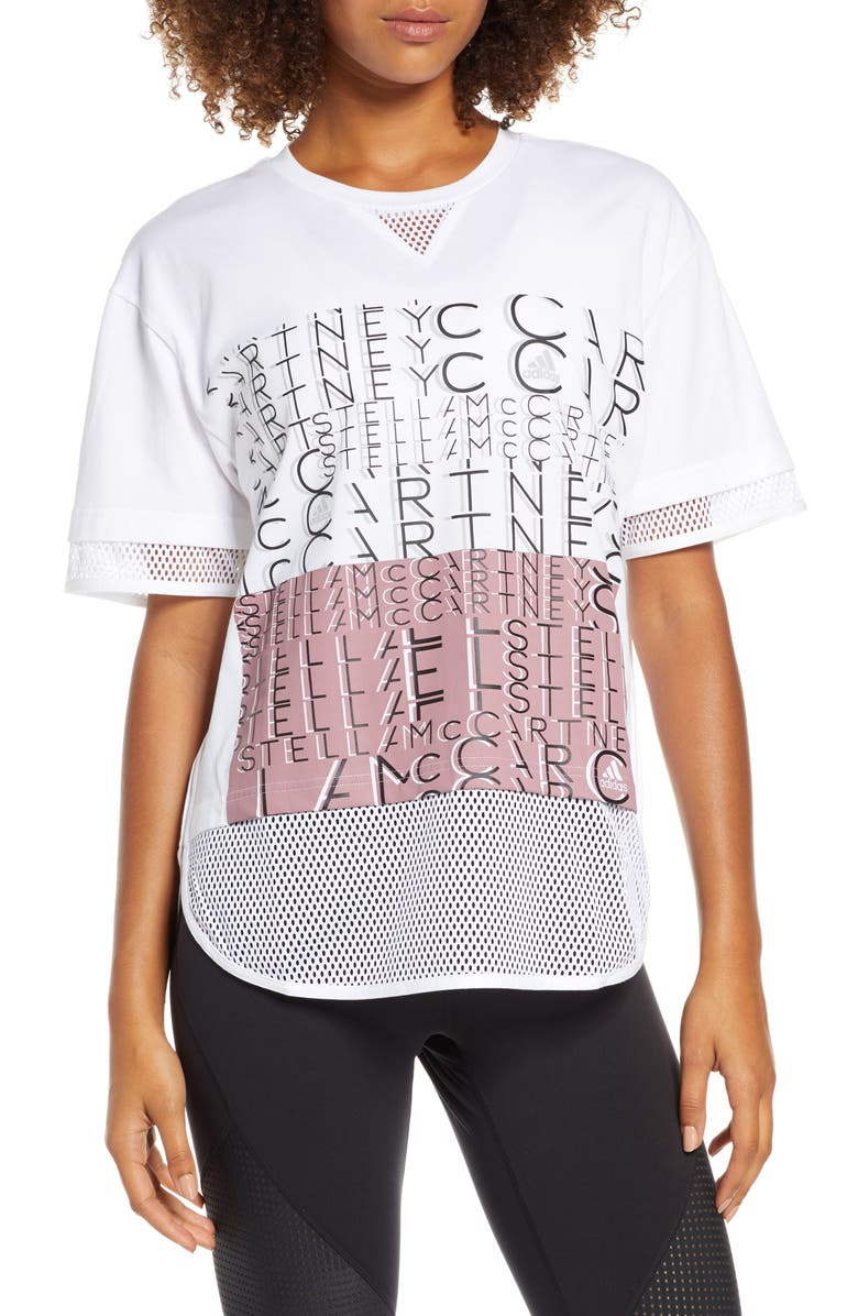 ADIDAS BY STELLA MCCARTNEY Climalite<sup>®</sup> Logo Tee, Main, color, 100