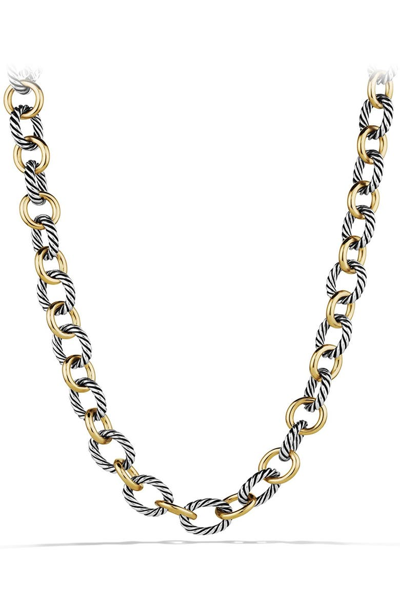 DAVID YURMAN 'Oval' Large Link Necklace with Gold, Main, color, TWO TONE