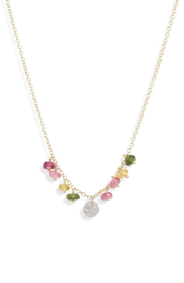 MEIRA T Semiprecious Stone & Diamond Shaker Necklace, Main, color, YELLOW/ WHITE GOLD