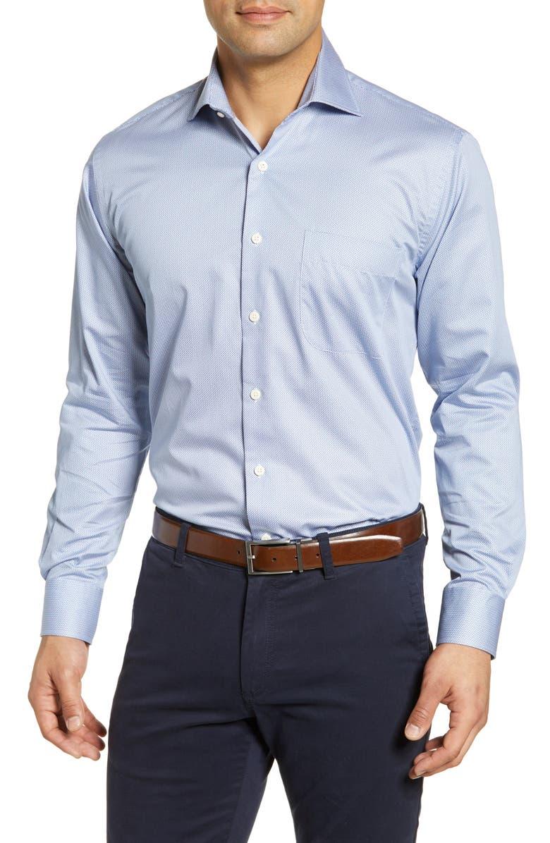 PETER MILLAR Kaleidoscope Regular Fit Solid Button-Up Shirt, Main, color, BLUE WHALE